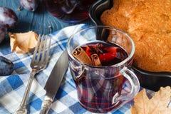Relaksuje gorącego alkoholu napój z pikantność, rozmyślający wino zdjęcia royalty free