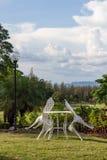 Relaksuje kąt w ogródzie Fotografia Royalty Free