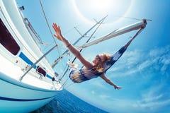 Relaksuje na łodzi Fotografia Royalty Free