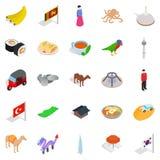 Relaksuje w Asia ikonach ustawiać, isometric styl Fotografia Royalty Free
