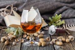 Relaksuje z alkoholem Jesień dąb i szkło whisky zdjęcia stock