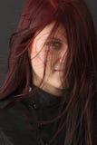 Relance através do cabelo vermelho fotos de stock