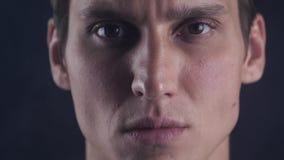 Relance focalizado Olhares masculinos no isolado da câmera O homem olha considerável e fresco O indivíduo concentrado focalizou a video estoque