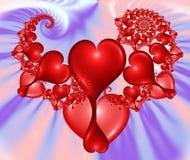 Relanzando los corazones - imagen del fractal ilustración del vector