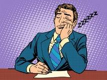 Relatório aborrecido Um homem caiu adormecido em leituras ilustração royalty free