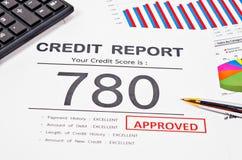 Relatório da pontuação de crédito fotografia de stock