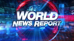 Relatório de notícias do mundo - título gráfico da animação da transmissão ilustração royalty free