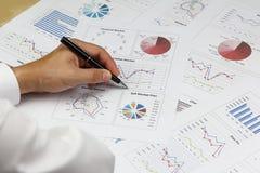Relatório de Summary do homem de negócios e marke principal de análise financeiro Fotos de Stock Royalty Free