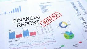 Relatório financeiro rejeitado, selo carimbado no documento oficial, projeto do negócio foto de stock royalty free