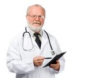 Relatórios sênior da escrita do doutor Fotografia de Stock