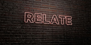 RELATE -Realistic Neon Sign on Brick Wall background - 3D rendered royalty free stock image. Can be used for online banner ads and direct mailers Royalty Free Stock Photo