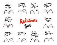 Relaties geplaatst hand getrokken illustratie met heemst in verschillende situaties vector illustratie