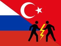 Relaties tussen Rusland en Turkije stock illustratie