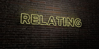 RELATING -Realistic Neon Sign on Brick Wall background - 3D rendered royalty free stock image Royalty Free Stock Photo