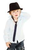 relation étroite de chapeau de garçon image libre de droits
