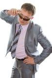 Relation étroite s'usante d'homme d'affaires, procès élégant photo stock