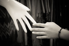 Relation concept : Human hand with plastic hand Royalty Free Stock Image