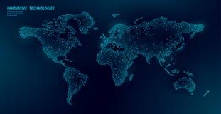 Relation d'affaires globale de la basse poly du monde de carte terre de planète Continents en ligne de l'Europe Afrique Amérique  illustration libre de droits