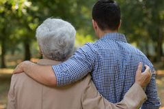 Relation between grandson and grandfather Stock Photography