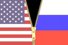 Relation from Russia and USA, political concept. 3D rendering. Relation from Russia and USA, political concept Stock Photography