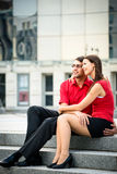 Relation in work - young business couple Royalty Free Stock Image