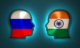 Relations adroites et économiques entre la Russie et l'Inde Images stock