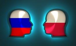 Relations adroites et économiques entre la Russie et la Pologne Image stock