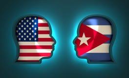 Relations adroites et économiques entre les Etats-Unis et le Cuba Photo libre de droits