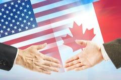 Relations amicales entre les Etats-Unis et le Canada Photos stock