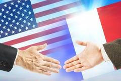 Relations amicales entre les Etats-Unis et les Frances Photo stock