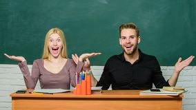 Relations with classmates. Students communicate classroom chalkboard background. Education concept. Communication stock image