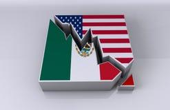 Relations d'affaires du Mexique et des Etats-Unis Images libres de droits