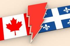 Relations entre le Canada et le Québec Images stock