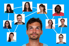 Relations, friends and contacts in social network Stock Photos