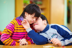 Relations between kids with disabilities Royalty Free Stock Image