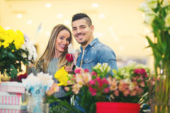 Relations, love, romance concept -  happy young couple Royalty Free Stock Image