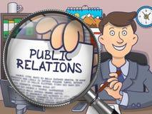 Relations publiques par la loupe Concept de griffonnage Image stock