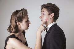 Relations, quarrel, jealousy Stock Images