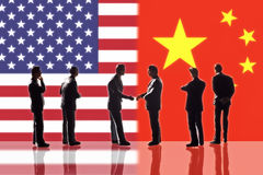 Relations between the USA and China. Symbolic Illustration: Relations between the USA and China Royalty Free Stock Images