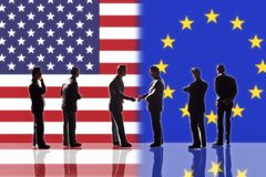 Relations between the USA and Europe Stock Image