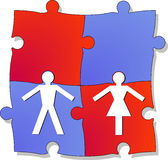 Relationship. Puzzle, togetherness, two unites Stock Photos