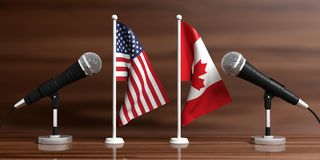 USA and Canada miniature flags. Cable microphones, wooden background, banner. 3d illustration stock illustration