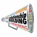 Relationship Building Megaphone Bullhorn Strengthen Friendship B Royalty Free Stock Image