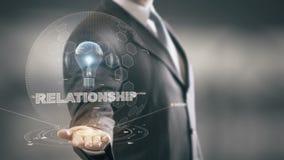 Relationship with bulb hologram businessman concept stock illustration