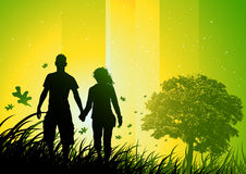 Relationship Concept. Walking through nature Royalty Free Stock Photo
