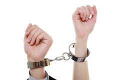 Relationship concept female male hands in handcuffs Royalty Free Stock Photos