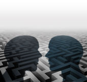 Relationship Concept. For group therapy or marriage counseling or employee relations as two human head shadows on a maze facing together as an icon of vector illustration