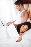 Relationship conflict. A shot of an interracial couple having a relationship conflict Royalty Free Stock Image