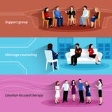 Relationship counseling therapy flat banners set Stock Photo