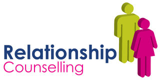 Relationship Counselling. A graphic image representing a male and female seeking relationship counselling, set with text in blue and pink Stock Image